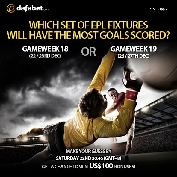 Join our FB PROMO OF THE WEEK: Which set of EPL fixtures will have the most goals scored?