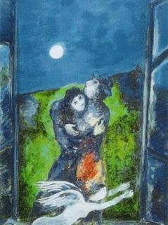 Chagall amanti al chiaro di luna