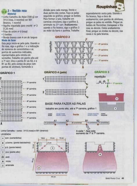 Roupas de Crochê Para Bebês Com Gráfico e Passo a Passo (PAP) em Português