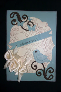 vanilla satin ribbon, bird punch, scribbles die, baja breeze cardstock