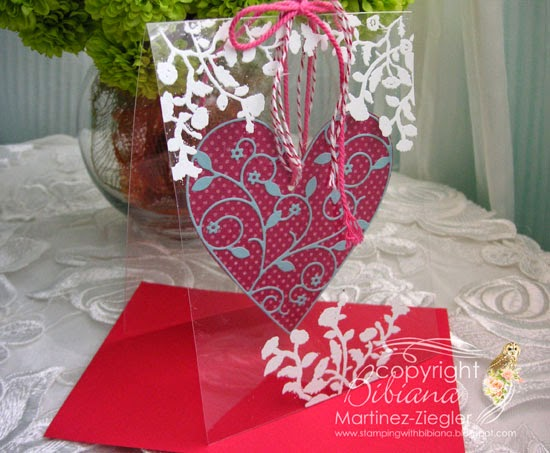 acetate card front with hanging heart for valentines