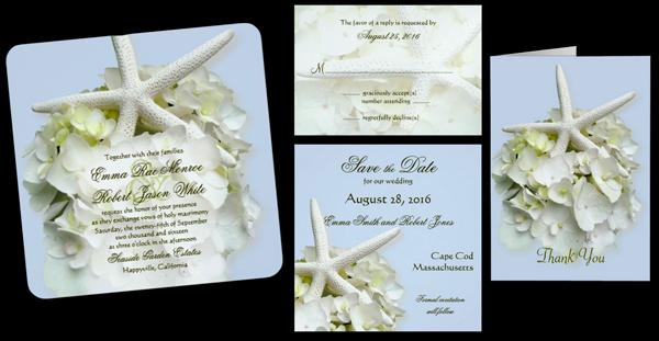 Seaside Garden Square Summer Wedding Invitation