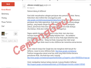 email balasan saat di approve google adsense