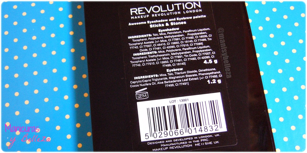 Paleta de sombras de ojos y cejas Awesome - Sticks & Stones de MakeUp Revolution   Awesome Eyeshadow and Eyebrow Palette (Maquillalia) Ingredientes