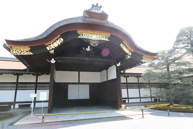 The first ceremony hall building to be seen during the restricted tour at Kyoto Imperial Palace in Kyoto, Japan
