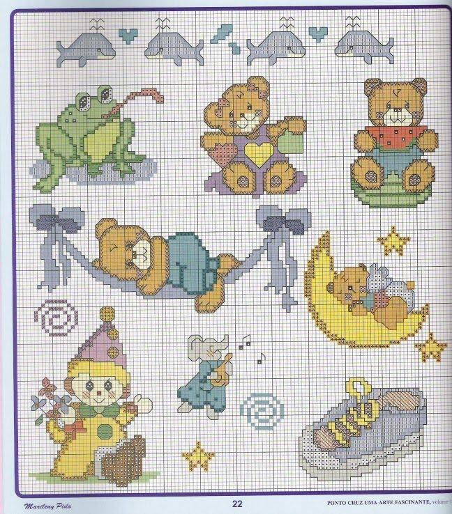 Gráficos de ursinhos para você bordar em ponto cruz .Os ursinhos