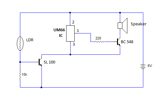 Simple Day Light Sensor Circuit using LDR and UM66 IC | My Circuits 9