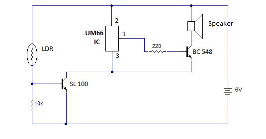 Burglar Alarm Project: Burglar Alarm Using Ic 555 And Ldr