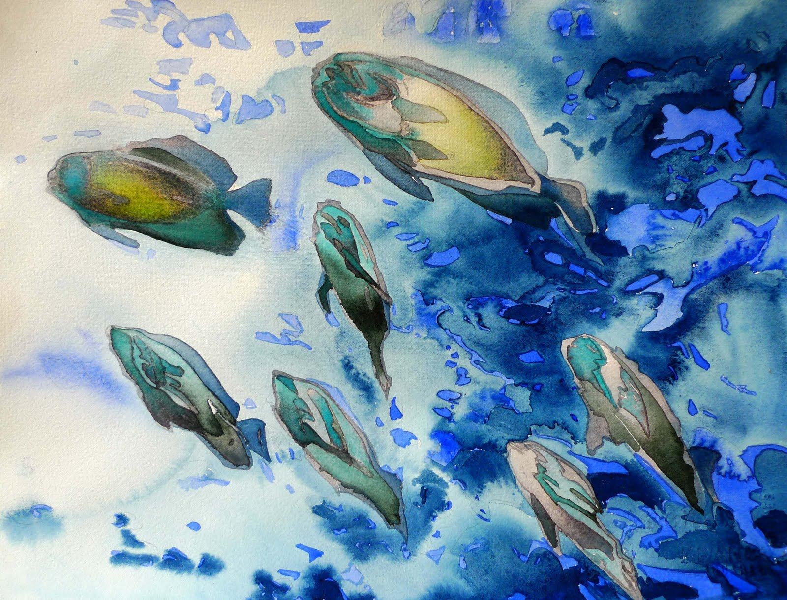 Tropical fish watercolor paintings for Tropical fish painting