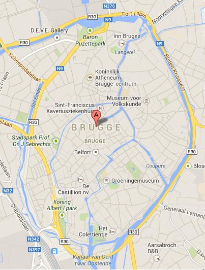 Mapa Brujas Bélgica