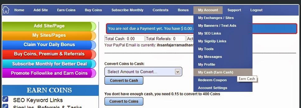 Cara mendapatkan uang dengan mudah dari followlike 2