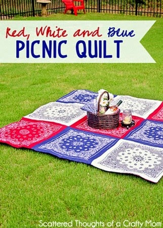 Double Sided Red White and Blue Picnic Quilt @  Scattered Thoughts of a Crazy Mom