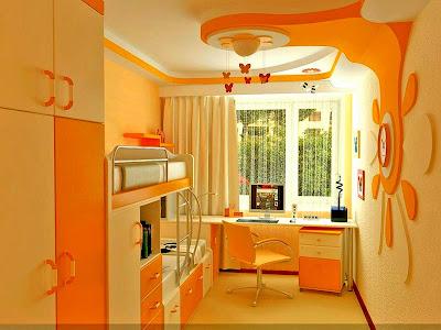 Satu lagi contoh hiasan bilik dan bertemakan warna oren.