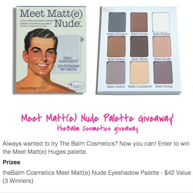 The Balm Meet Matt(e) Nude giveaway, @girlythingsby_e