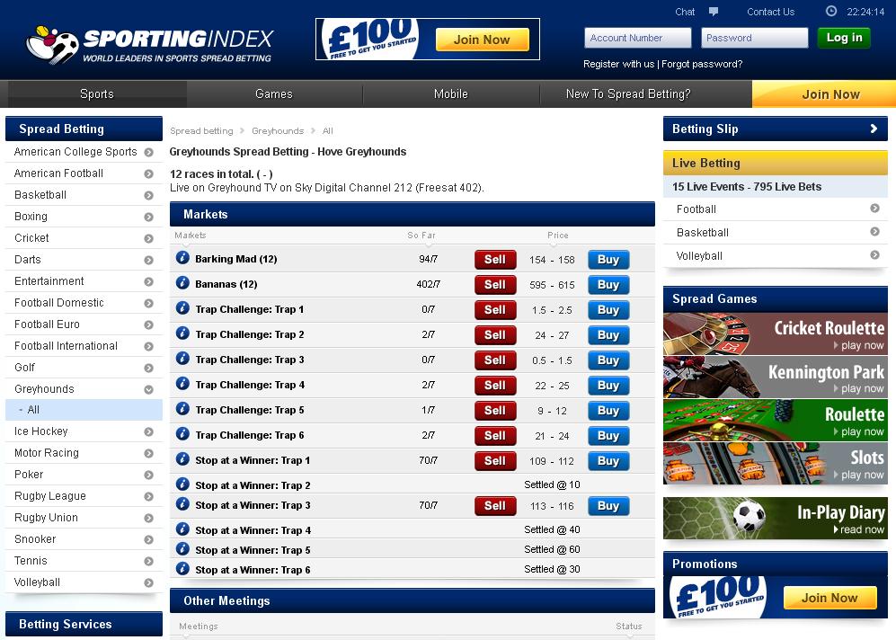 Sporting Index Greyhounds Screen