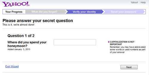 forgot my yahoo security question
