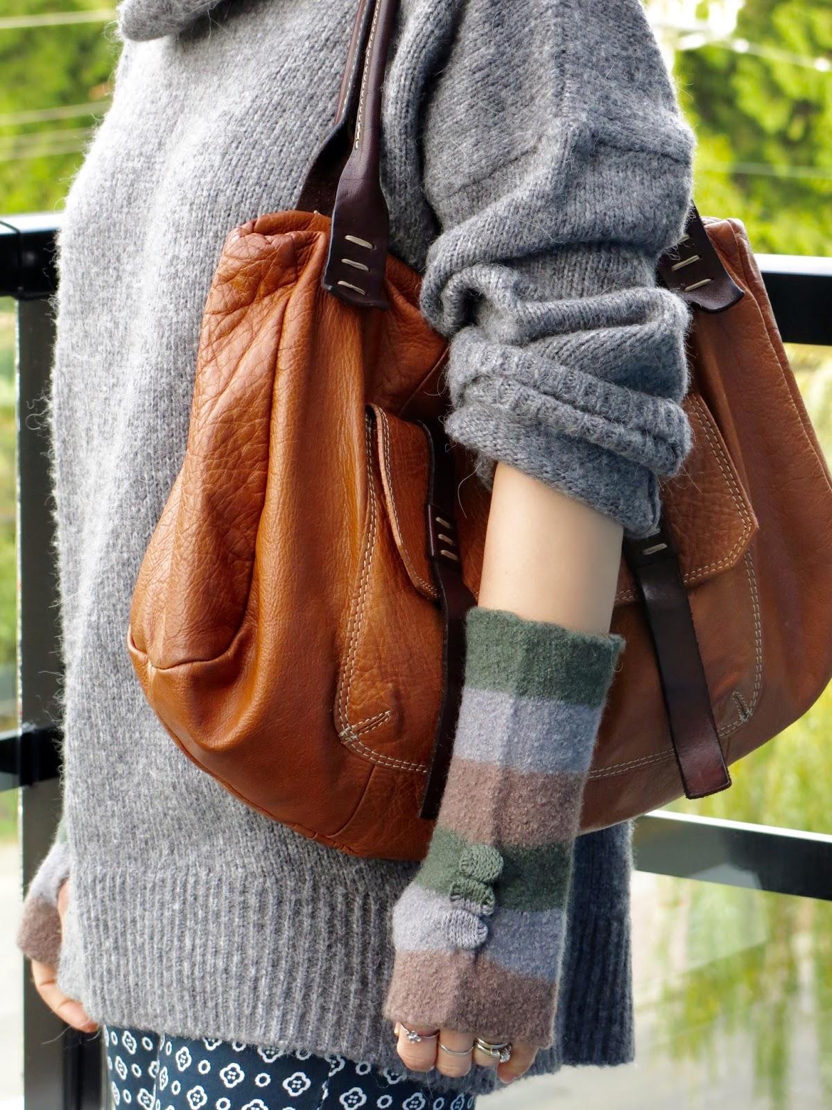oversized turtleneck, fingerless gloves, and a cognac satchel