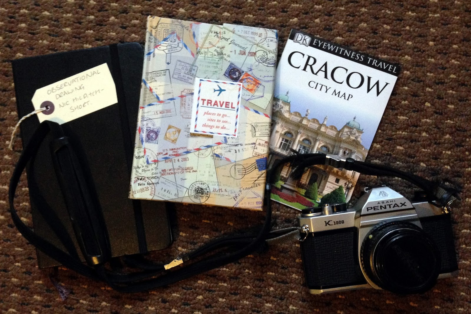 notepad, sketchpad, film, camera, pentax k1000, How To Plan Your Trip/ Travel (To Itinerary or not to Itinerary?!) vacation, planning, planner, road trip, road planner, travel planner, route, online travel, trip map, scrapbooks, Planning a Trip, tripadvisor, travel agency, tours, guide book, sketching,