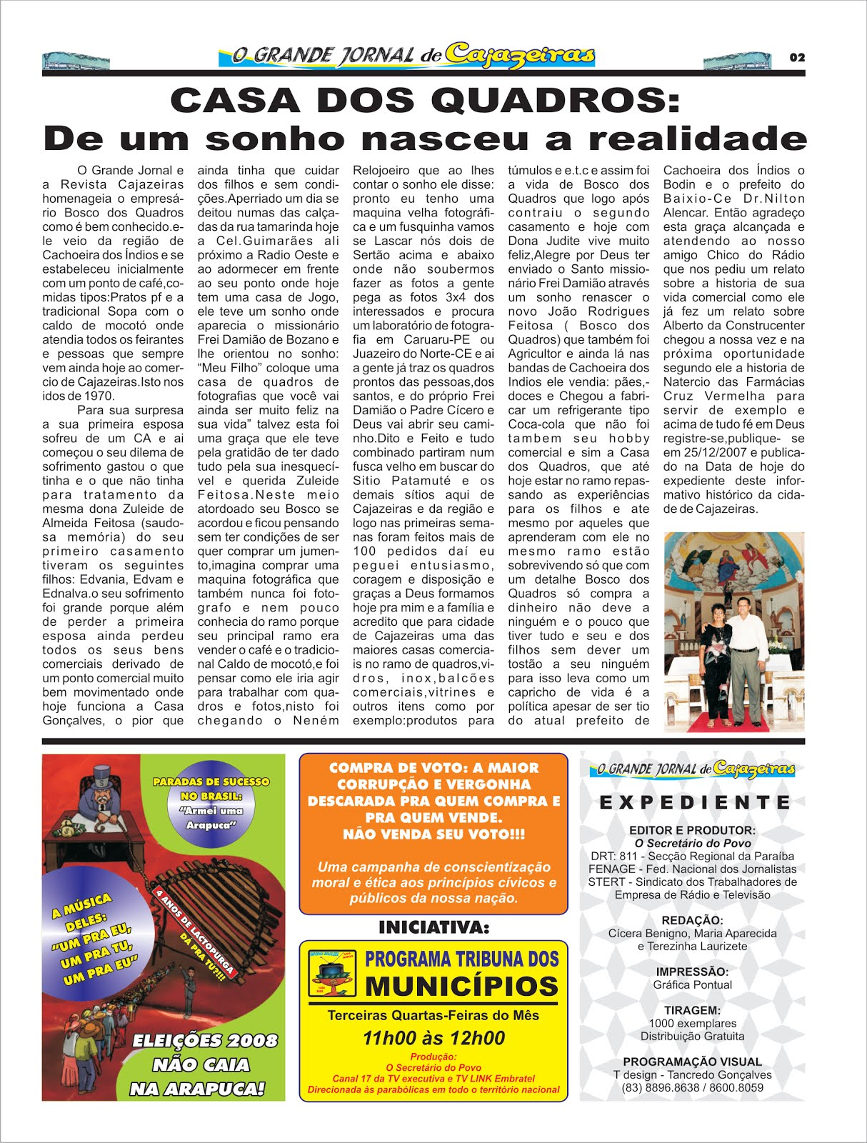 GRANDE JORNAL DE CAJAZEIRAS  FEZ  UMA HOMENAGEM A UM EMPRESARIO DO COMERCIO DE CAJAZEIRAS PB