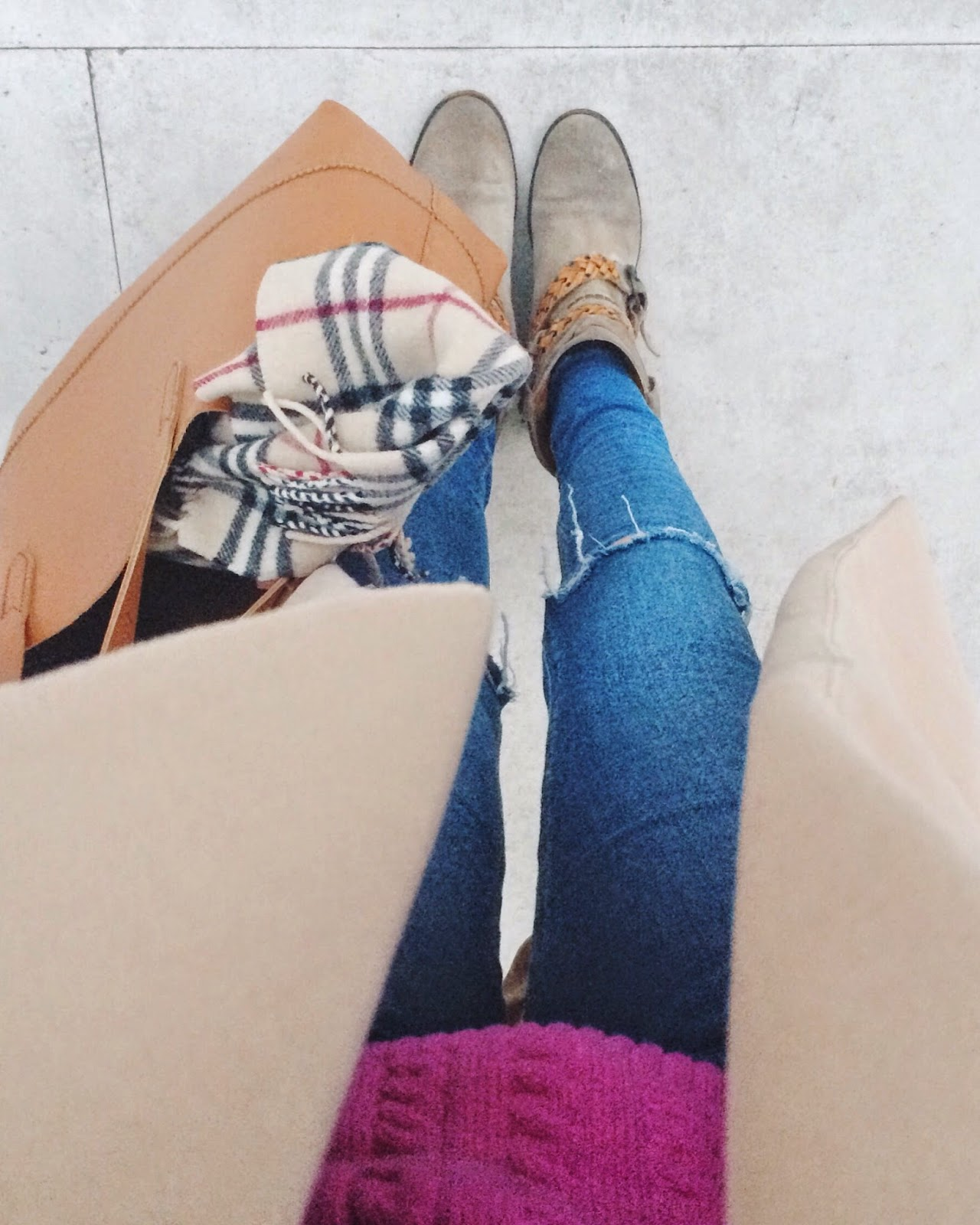 fwis, asos jeans, asos skinny jeans, camle coat, burberry, burberry scarf, pink cable knit jumper