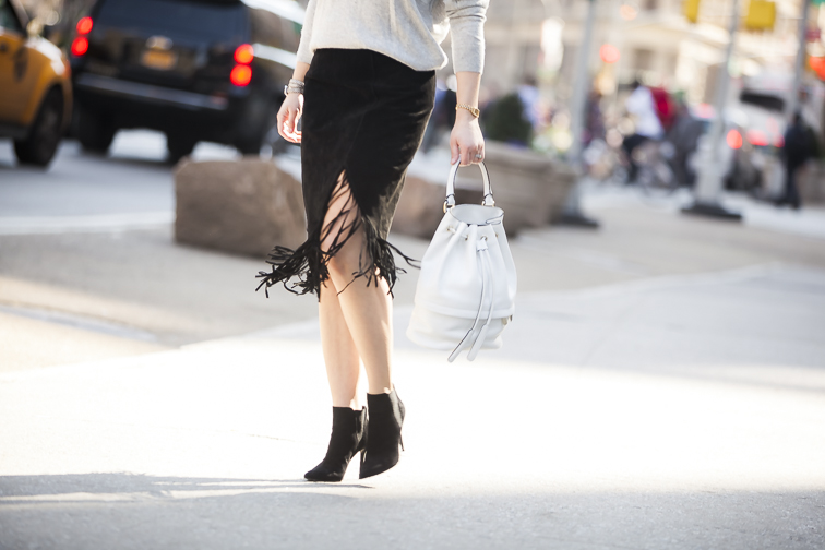 Fashion Over Reason in NYC, Flatiron Building, Luana Italy handbag, Suede fringe skirt