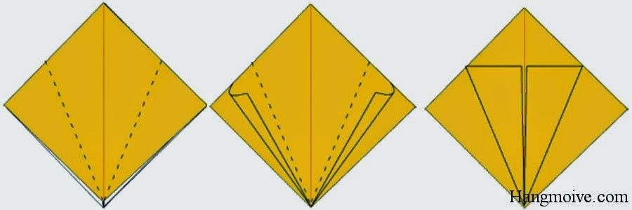 Bước 6: Gấp 2 cạnh bên của lớp bên trên của tứ giác lại với nhau ta được một hình như hình thứ 3 bên dưới.