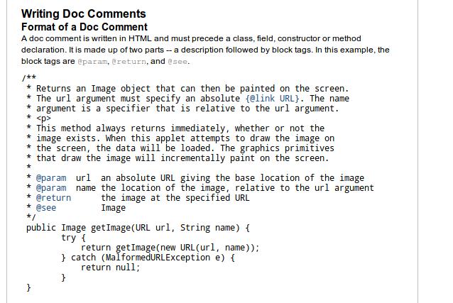 Documentando Sistemas: Tutorial escribir documentación en ... Javadoc Comment