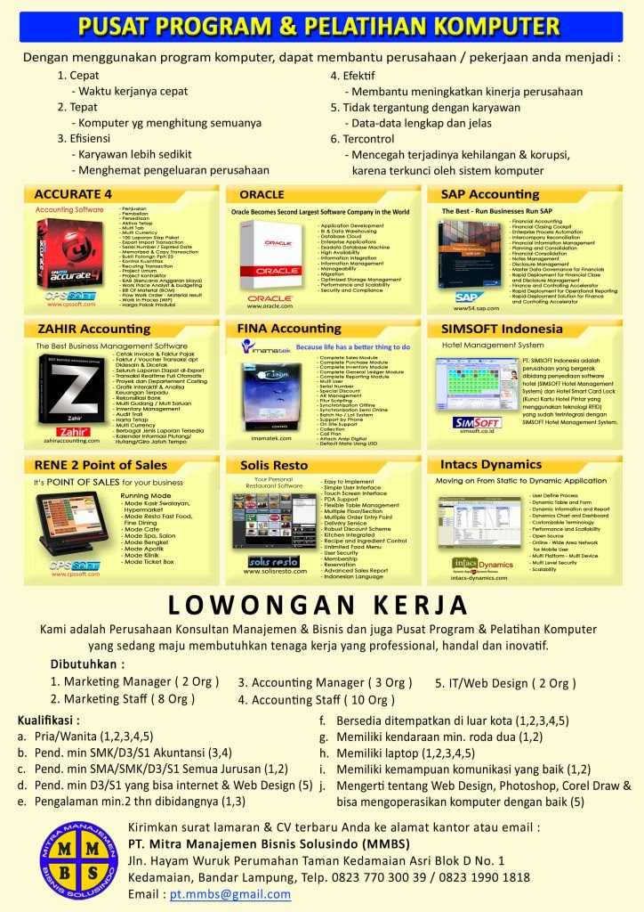 Lowongan Kerja PT. Mitra Manajemen Bisnis Solusindo (MMBS) Bandar Lampung