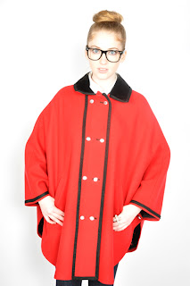 Vintage 1960's red military style cape with black velvet trim.
