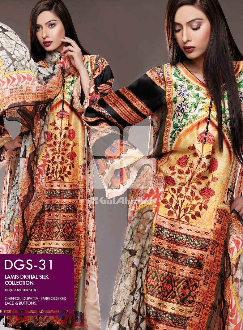 GulAhmed New Lamis Digital Silk Collection 2015