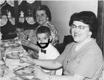 children, beard, older ladies, dinner table,