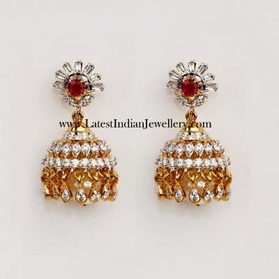 Stylish Diamond Jhumkas