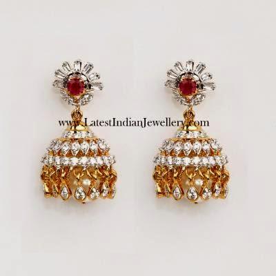 Stylish Diamond Jhumkas