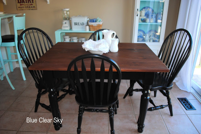 Rustic maple four farm tables for Painted dining room table and chairs ideas