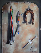 """Trompe o""""eil Of painting tools Oil On Panel 2009 16x20"""