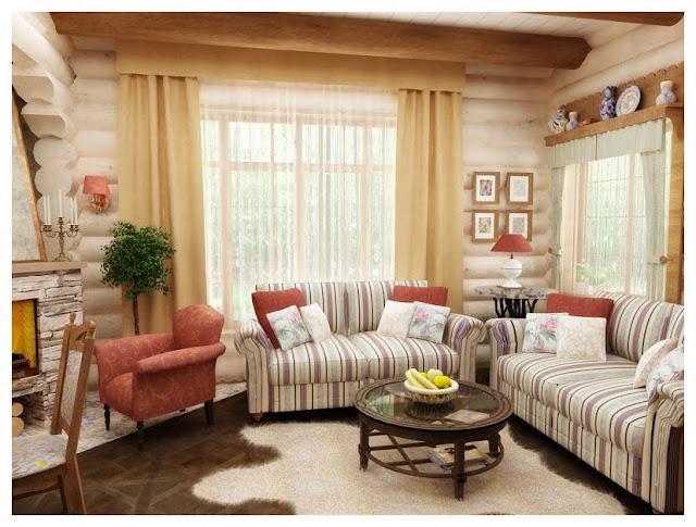 Дизайн интерьера бревенчатого дома. Гостиная, столовая, кухня.Сысерть