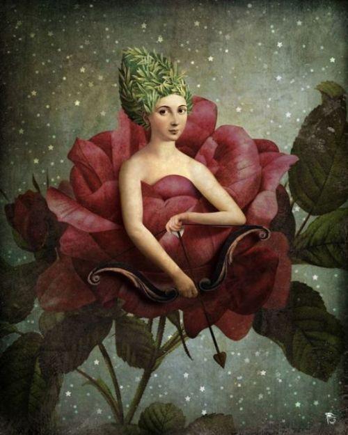 Christian Schloe ilustração digital surreal onírica sonhos Amor florido na noite estrelada