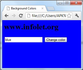 Html user defined background color using textbox list for Change background color of html page
