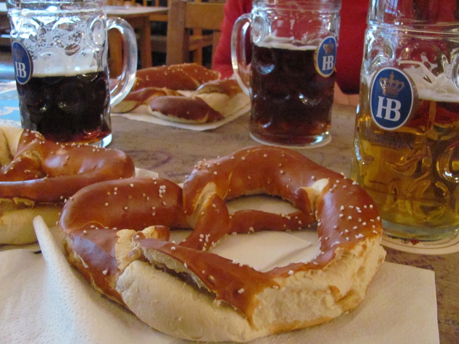 Pretzels with beer at Hofbrauhaus Munich