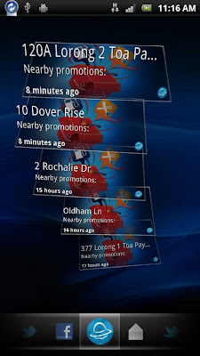 ShowNearby on Timescape on Sony Ericsson mobile phones. Singapore's leading location-based service provider shows you nearby advertisements, promotions and deals.