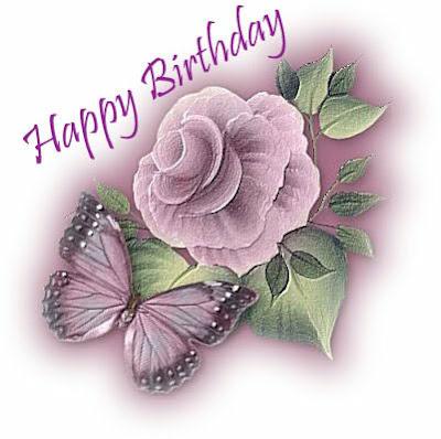 Flor y mariposa Happy Birthday