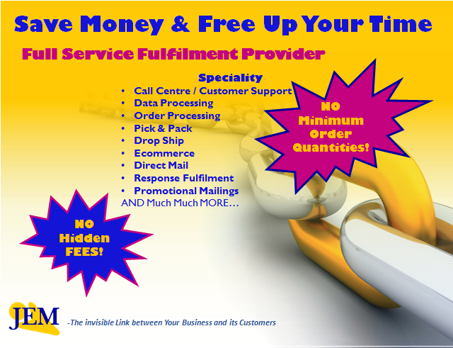 This image highlights the services JEM provides and states no monthly minimum order quantities or hidden fees.