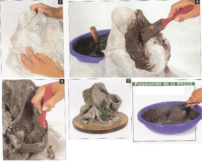 Arte bonsai roca artificial para bonsai for Como hacer color piedra