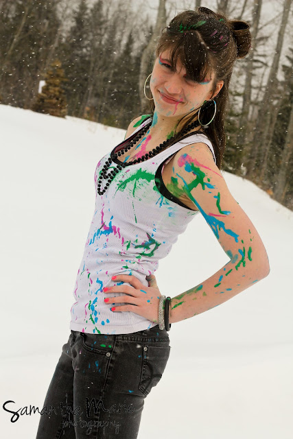arianna covered in paint and glitter presque isle maine
