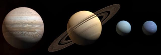 Representación a escala de los planetas gaseosos de nuestro Sistema Solar