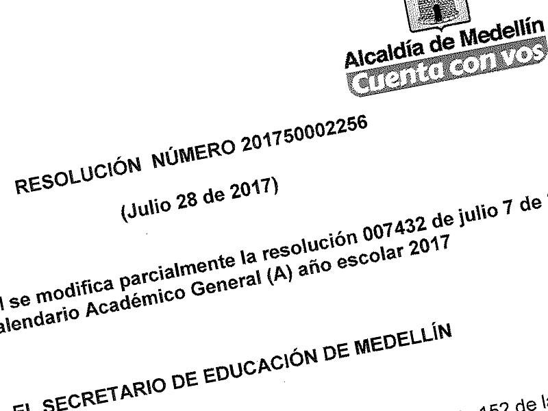 Resolución reposición clases en Medellín 28 julio 2017