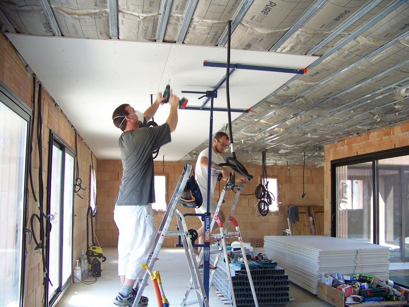 autoconstruction saucats le placo du plafond. Black Bedroom Furniture Sets. Home Design Ideas