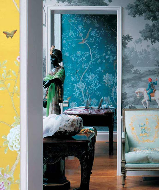 Chinoiserie traditional wallpaper walls bedroom living for Chinoiserie mural