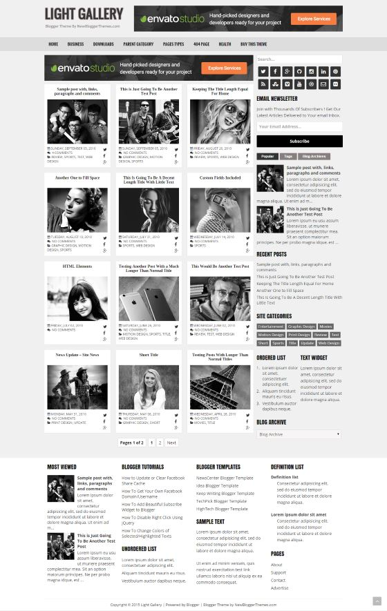 Light Gallery Blogger Template | Best Blogger Themes | Professional ...