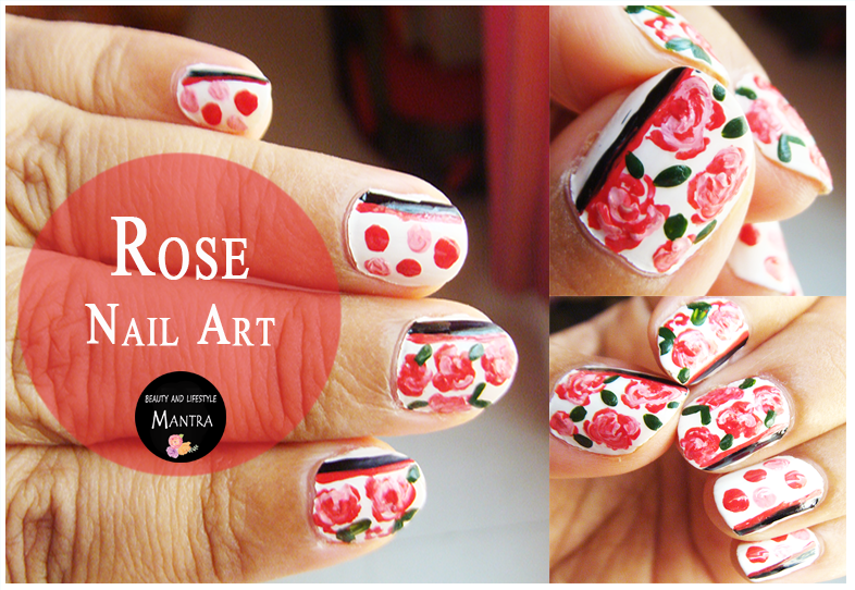 Rose Flower Nail Art - Beauty and Lifestyle Mantra / Indian Beauty ...